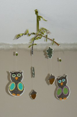 Needle Felted Owl and Toadstool Mobiles.