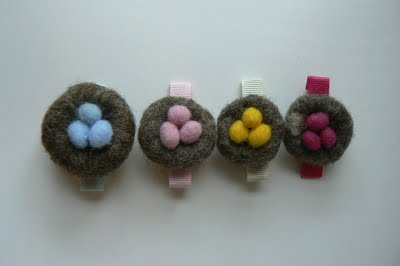 Needle Felting – Nest Barrettes.
