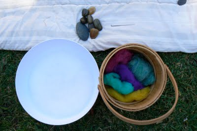 supplies needed for wet felting stones @ The Magic Onions