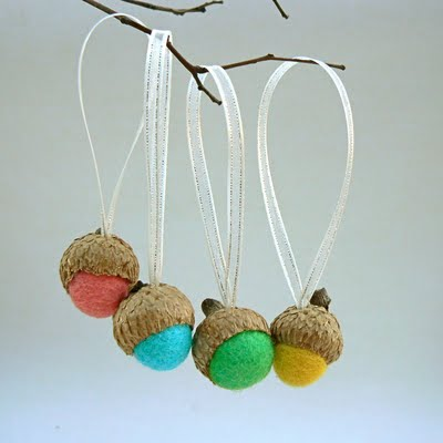 Needle Felted Christmas Ornaments… Felted Acorns, Fairies and Gnomes.