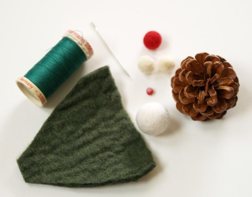 pine cone and felt gnome christmas ornament the magic onions. Black Bedroom Furniture Sets. Home Design Ideas