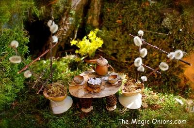 Acorn tea set :: Fairy Garden :: The Magic Onions :: www.theMagicOnions.com
