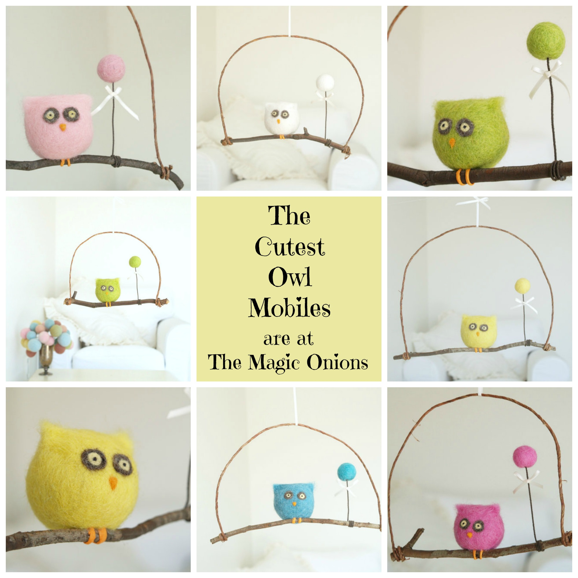 Cutest owl mobiles in town : Needle Felted from wool : www.theMagicOnions.com/shop/