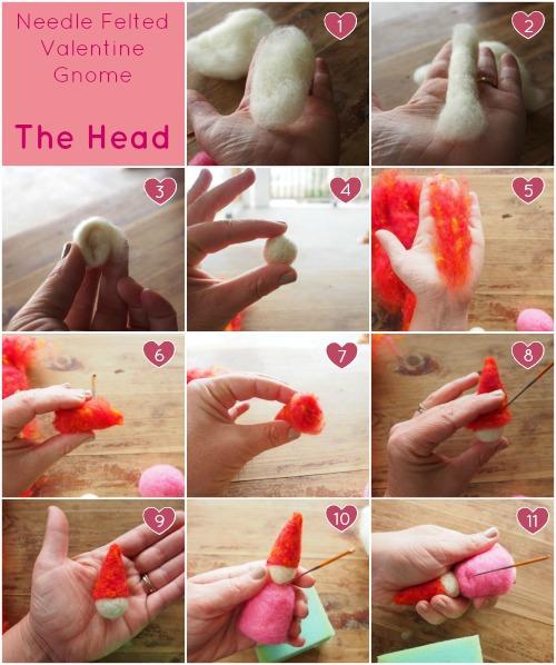 The Head : Needle Felted Valentine Gnome Tutorial :  www.theMagicOnions.com
