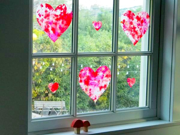 Wax Paper Stained Glass Hearts