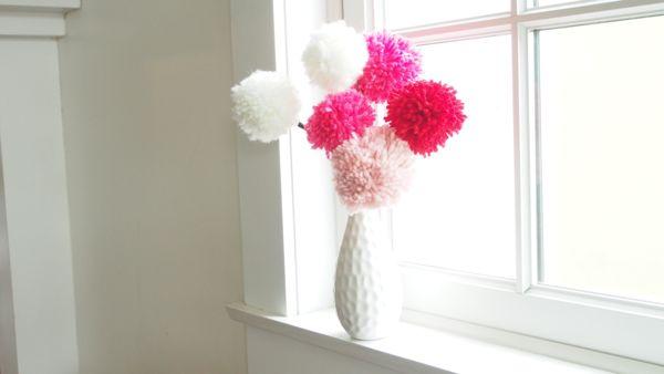 How to Make Pretty Pom Pom Flowers for Valentine's Day : www.theMagicOnions.com