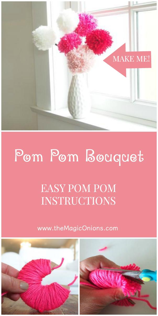 Beautiful POM POM BOUQUET :: and EASY pom pom instructions from The Magic Onions