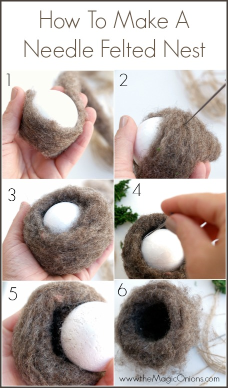 Make a Hummingbirds Nest : Neelde Felting Tutorial : www.theMagicOnions.com