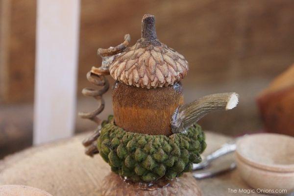 Acorn Fairy Garden Teapot : www.theMagicOnions.com