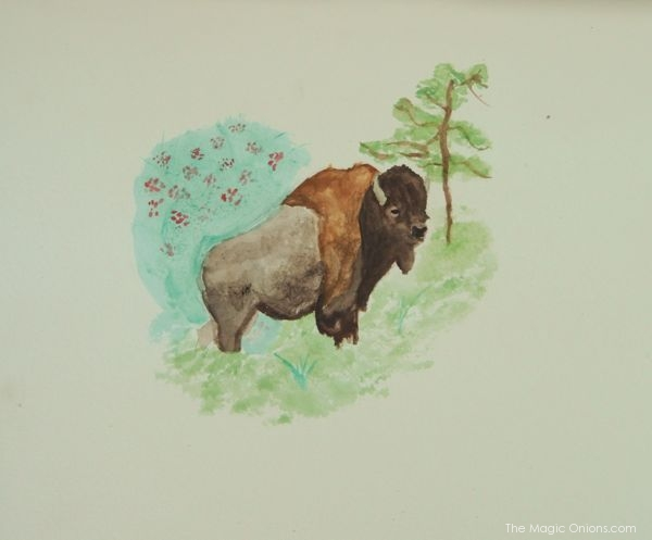 Watercolor Painting of a Bison : www.theMagicOnions.com