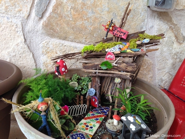 Kid Made Fairy Garden : 2nd Place Winner of the  2014 Fairy Garden Contest on The Magic Onions : www.theMagicOnions.com