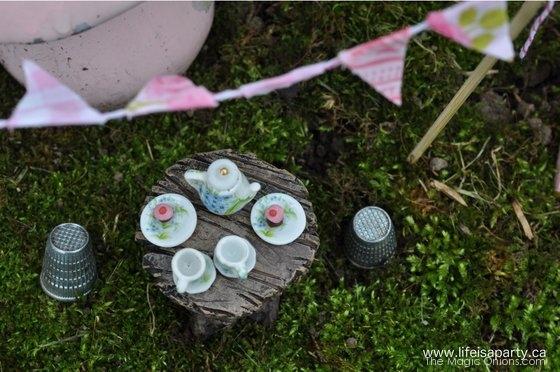 Tea Party in the Fairy Garden : Finalist in the Fairy Garden Contest : www.theMagicOnions.com