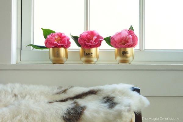 DIY Golden Valentine's Day Votives : www.theMagicOnions.com