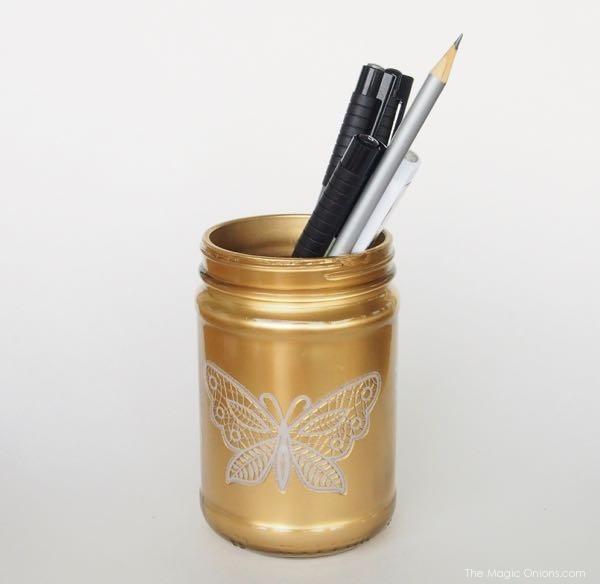 gold mason jar pen holder diy craft photo