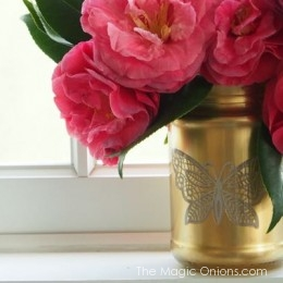 Gold Mason Jar Vase Tutorial with Lace Butterfly and Spray Paint