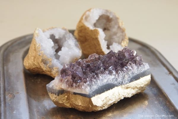 photo of geodes and crystals spray painted gold