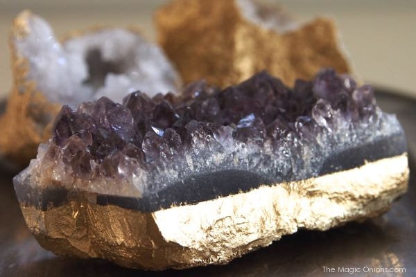 photo of how to make gold geodes and crystals using gold spray paint