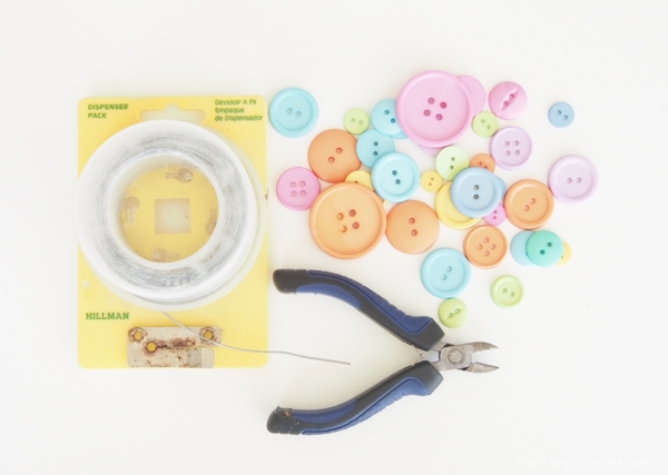materials needed to make a DIY button bouquet