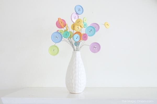 Button flower bouquet in Pastel colors