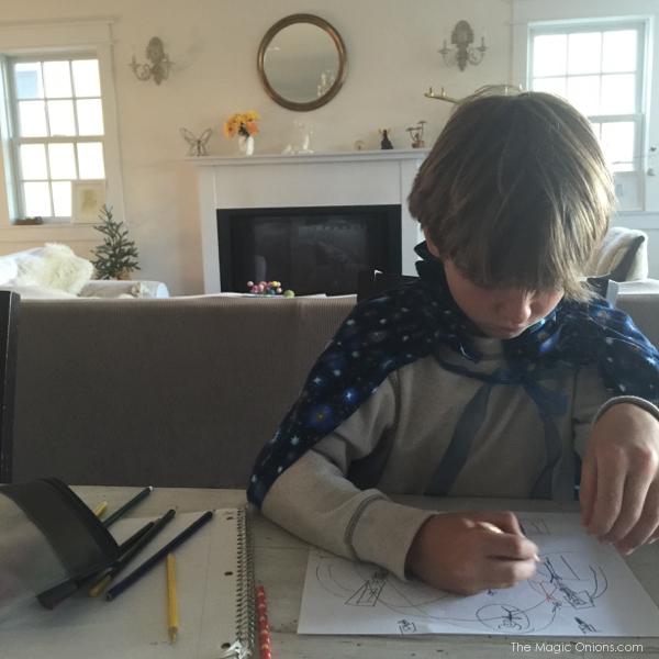 Photo of a Waldorf Boy drawing