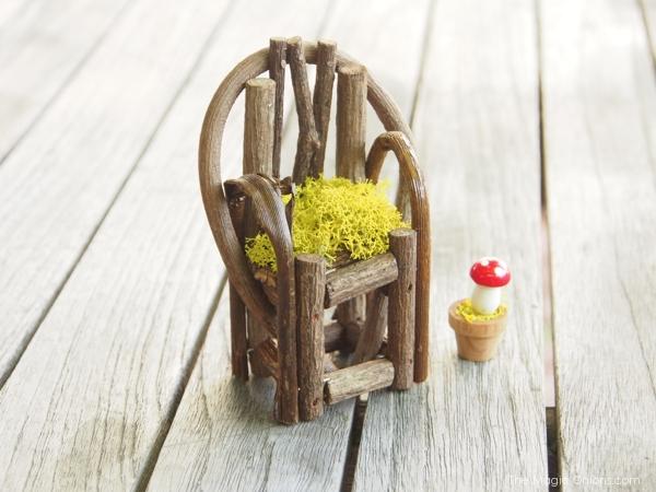 Photo of a Mini Fairy Garden Rustic Wood Armchair