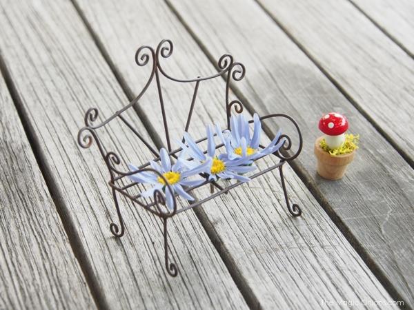 Photo of a Mini Fairy Garden Filigree Wire Bench
