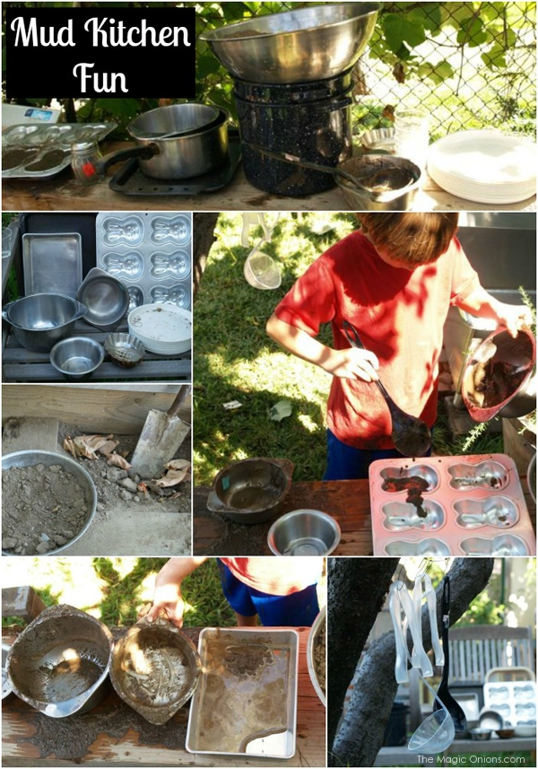 fun photos of a child's mud kitchen