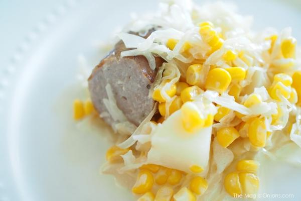 Photo of Bratwurst and Saurekraut Slowcooker Casserol : www.theMagicOnions.com