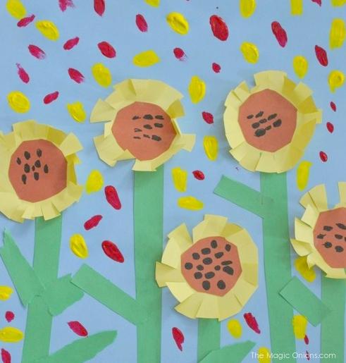 Sunflower Art for Kindergarten :: www.theMagicOnions.com