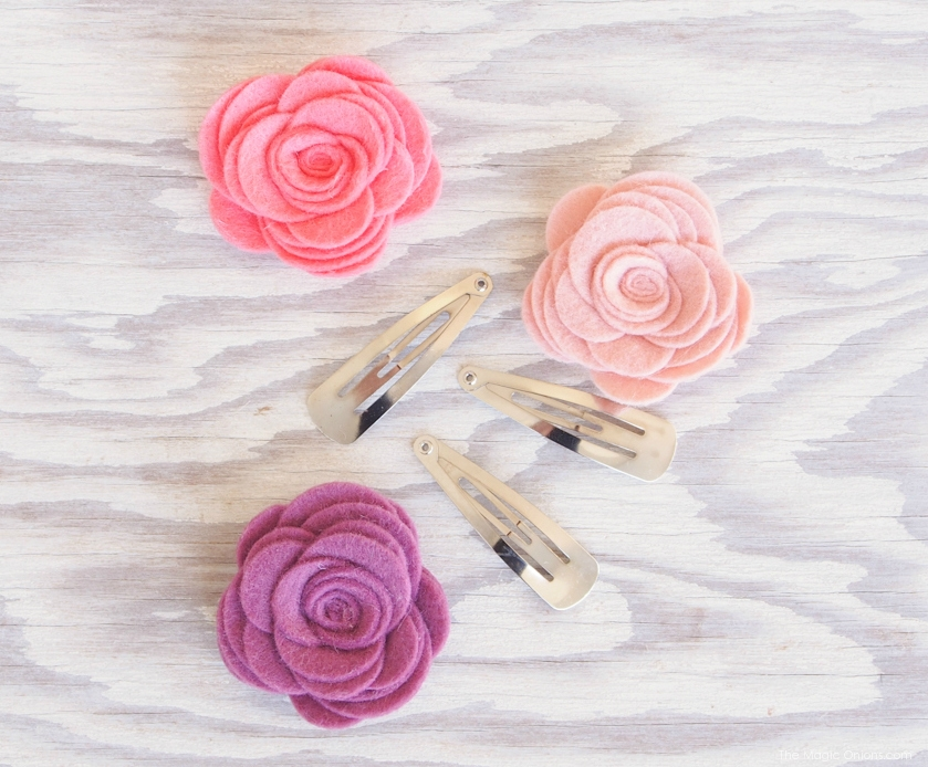 Make DIY Felt Flower Hair Clips for Spring with The Magic Onions Blog