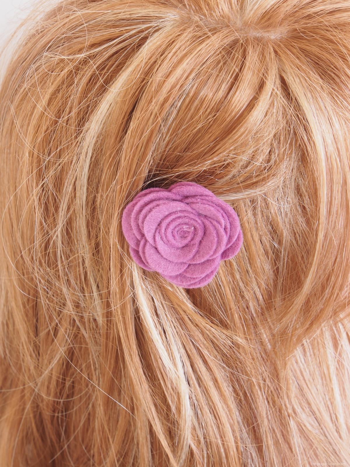 Make DIY Felt Flower Hair Barettes for Spring with The Magic Onions Blog