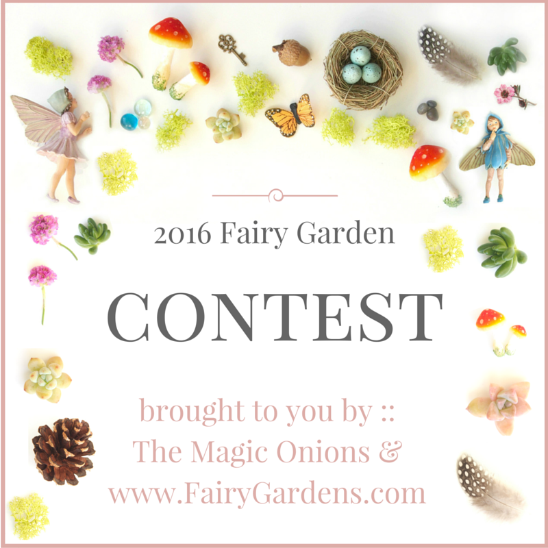 Enter the 2016 Fairy Garden Contest from The Magic Onions at www.FairyGardens.com