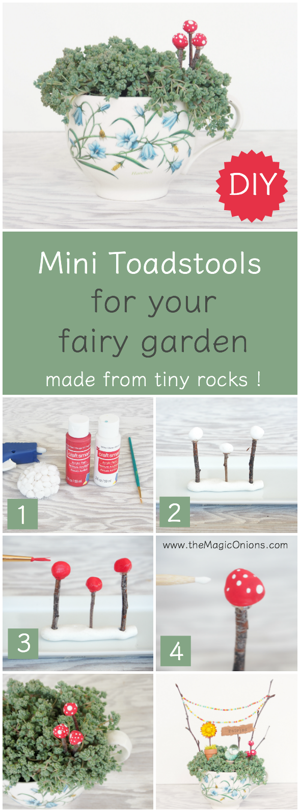 howto make toadstools for a fairy garden