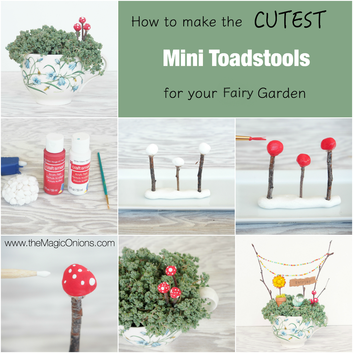 DIY Tutorial :: Make Delightful Mini Toadstools for your Fairy Garden :: www.theMagicOninons.com